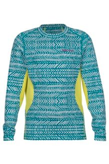 Girl's Lana LS Crew, Deep Lake Arrows/Sprig, medium