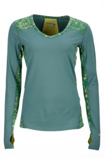 Wm's Meghan LS V Neck, Urban Army/Deep Teal Terrain, medium