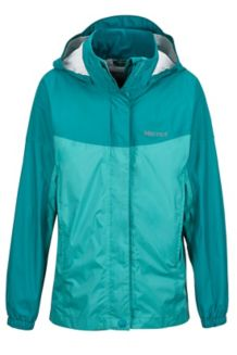 Girl's PreCip Jacket, Teal Tide/Malachite, medium
