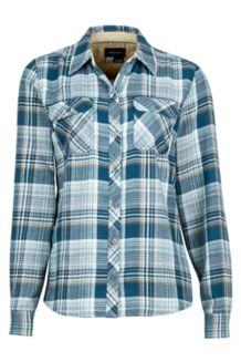 Wm's Bridget Flannel LS, Denim, medium