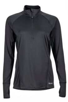 Wm's Interval 1/2 Zip LS, Black, medium
