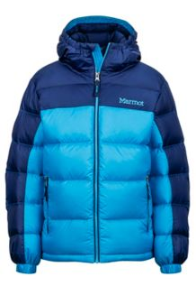 Boy's Guides Down Hoody, Bahama Blue/Arctic Navy, medium