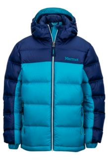 Girl's Guides Down Hoody, Turquoise/Arctic Navy, medium