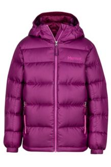 Girl's Guides Down Hoody, Deep Plum, medium