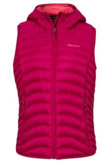 Wm's Bronco Hooded Vest, Sangria, medium