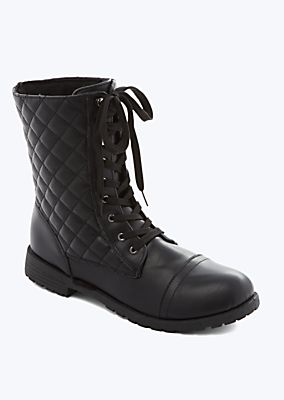 Quilted Combat Boots Quilted Faux Leather Combat