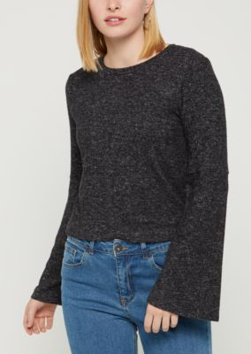Black Knit Open-Back Sweater | Sweaters | rue21