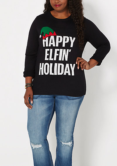 image of Plus Happy Elfin' Holiday Sweater
