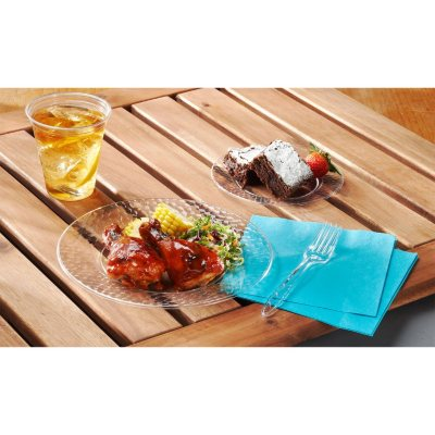 Hammered Clear Plastic Plates Combo Pack (22 Dinner Plates & 22 Snack/Dessert Plates).  Ends: Aug 29, 2015 10:00:00 AM CDT