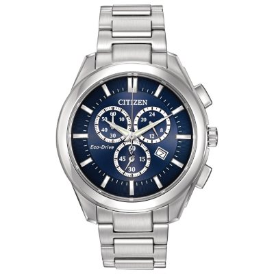 Men's Citizen Eco-Drive Chronograph Stainless Steel with Blue Dial Watch