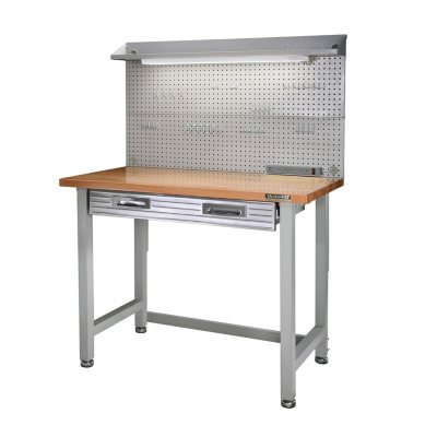 Seville Classics Lighted Hardwood Top Workbench, Dark Grey.  Ends: Mar 28, 2015 11:00:00 PM CDT