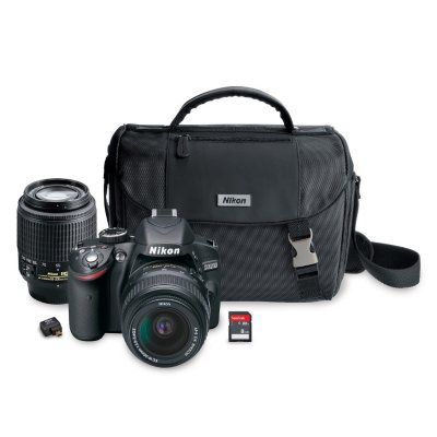 Nikon D3200 24.2 MP HD-SLR Camera Bundle with 18-55mm and 55-200mm Lenses, Wi-Fi Adapter, Camera Case and 8GB SD Card.  Ends: Dec 18, 2014 11:15:00 PM CST