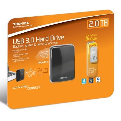 Toshiba Canvio Connect Portable Hard Drive 2TB with USB 2.0 Flash Drive 32GB.  Ends: Jun 26, 2016 9:00:00 AM CDT