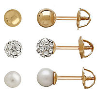 Child's 14K Yellow Gold, Freshwater Cultured Pearl and Swarovski Stud Set