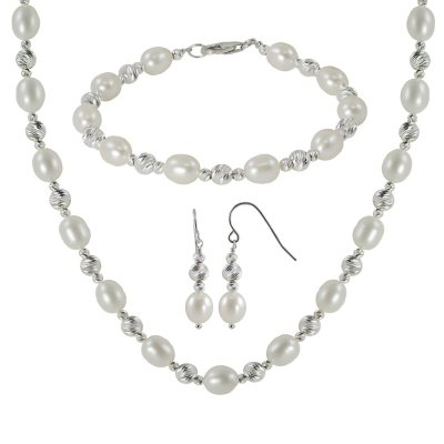 3 Piece Sterling Silver Sparkle Bead & Freshwater Pearl Necklace, Bracelet and Earring Set.  Ends: Apr 18, 2015 4:00:00 PM CDT