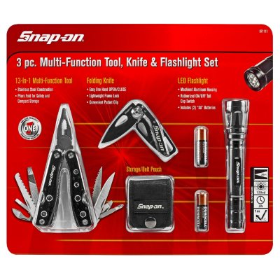 "Snap-on™ ""Official Licensed Product"" 3 Piece Multi-Function Tool with Knife and Flashlight Set.  Ends: Aug 27, 2014 7:00:00 PM CDT"
