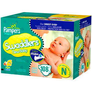 Pampers - Swaddlers, Size Newborn (up to 10 lbs.), 108 ct.