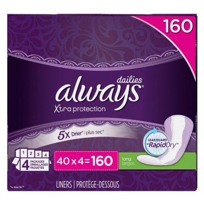 Always Xtra Protection Daily Liners, Long (160 ct.).  Ends: Apr 28, 2015 8:00:00 PM CDT