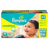 Pampers Swaddlers Diapers, Size 4 (128 ct.)