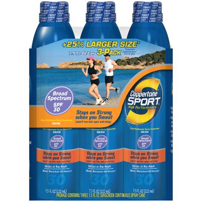 Coppertone Sport Clear Continuous Spray SPF 30 Sunscreen (3 ct., 7.5 oz.).  Ends: Aug 3, 2015 6:00:00 AM CDT