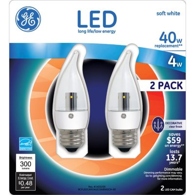 GE LED 4 Watt Soft White Regular Base Clear Bent Tip (2 pk.).  Ends: Feb 14, 2016 5:05:00 AM CST