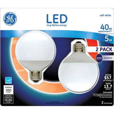 GE LED 5 Watt G25 Globe White (2 pk.).  Ends: Feb 13, 2016 6:55:00 AM CST