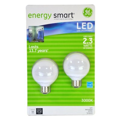 AUCTION SKU: Energy Smart LED Globe Light Bulbs- 2 pk.  Ends: Dec 18, 2014 6:00:00 PM CST