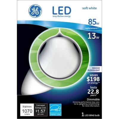 GE LED 13 Watt R40 Indoor Floodlight Soft White.  Ends: Feb 7, 2016 11:55:00 PM CST