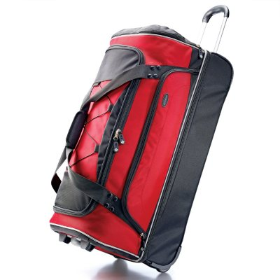 "Samsonite 30"" Drop Bottom Wheeled Duffel Bag - Red/Black.  Ends: Oct 20, 2014 5:00:00 AM CDT"