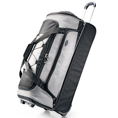 "Samsonite 30"" Drop Bottom Wheeled Duffel Bag - Silver/Black.  Ends: Oct 20, 2014 5:00:00 AM CDT"