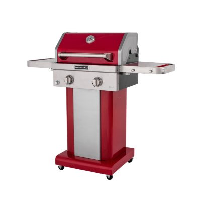 KitchenAid 2-Burner Propane Patio Grill with Cover, Red.  Ends: Jul 30, 2016 10:00:00 AM CDT
