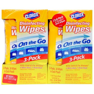 Clorox On-the-Go Disinfecting Wipes (34 Wipes, 6 pk.).  Ends: Aug 21, 2014 7:28:00 AM CDT