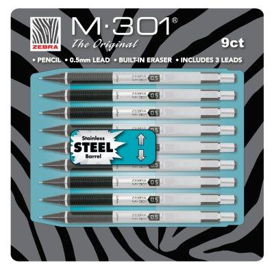 Zebra M-301 Mechanical Pencil, 0.5 mm, Stainless Steel (9 Pencils)