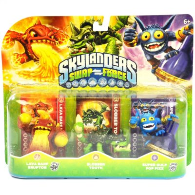Skylanders Swap Force Triple Pack (Lava Barf Eruption, Slobber Tooth, Super Gulp Pop Fizz).  Ends: Sep 2, 2014 3:25:00 PM CDT