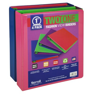 "Samsill Two-Tone View Binder, 1"", 4 Pack, Fashion Assortment.  Ends: Dec 4, 2013 11:00:00 PM CST"