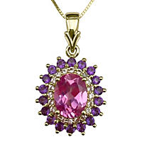 Lab-Created Pink Sapphire, Sapphire & Amethyst Pendant in 14K Yellow Gold