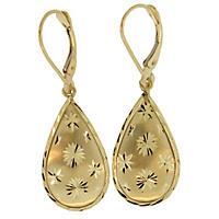 14K Yellow Gold Starburst Teardrop Earrings
