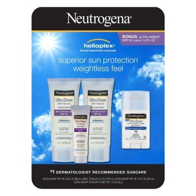 Neutrogena Ultra Sheer Dry-Touch Sunscreen (4 pk.).  Ends: Aug 1, 2015 11:30:00 AM CDT
