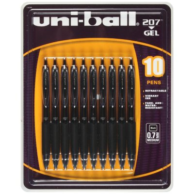 uni-ball Signo Gel 207 Roller Ball Retractable Gel Pen, Black Ink (Medium, 10 Pens)