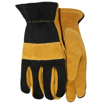 Suede Leather Gloves with Spandex Back, Large