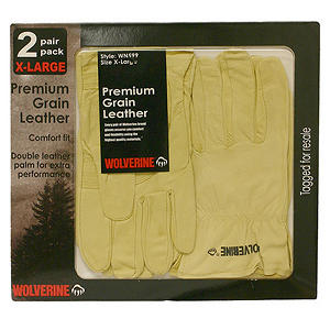 Wolverine 2pk Premium Grain Leather Gloves- Medium