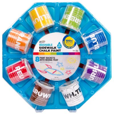 RoseArt Washable Sidewalk Chalk Paint Color Wheel,  8 Count