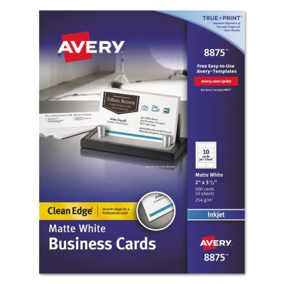 Avery 8875 Clean Edge Business Cards, White (Inkjet/500 Cards).  Ends: May 29, 2015 6:00:00 AM CDT