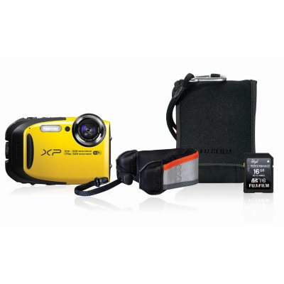 FUJIFILM FinePix XP80 16.4MP CMOS Waterproof Digital Camera Bundle with Action Case, and 16GB SDHC Card - Yellow.  Ends: Jun 26, 2016 11:00:00 PM CDT