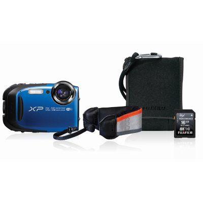 FUJIFILM FinePix XP80 16.4MP CMOS Waterproof Digital Camera Bundle with Action Case, and 16GB SDHC Card - Blue.  Ends: Jul 29, 2016 7:00:00 PM CDT