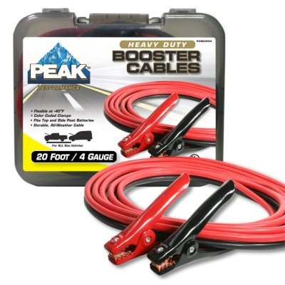 Peak 4 Gauge Heavy Duty Booster Cables - 20'.  Ends: Apr 18, 2014 1:50:00 AM CDT
