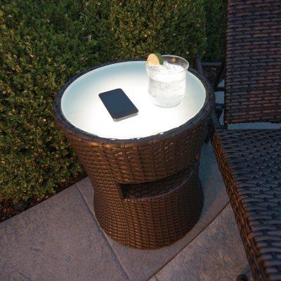 Wicker Side Table w/Wireless Speakers.  Ends: Jul 5, 2015 11:10:00 PM CDT