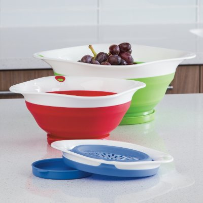 Prepworks 3-Piece Collapsible Colander Set with Drip-Catching Base.  Ends: Aug 1, 2015 11:30:00 AM CDT