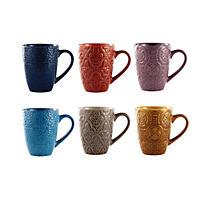 Renaissance Embossed Stoneware Mugs, Set of 6