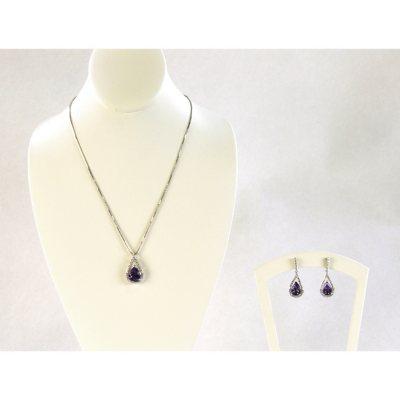 Amethyst & .29 CT. TW. Diamond Pendant & Earring Set in .925 Sterling Silver.  Ends: Jul 28, 2015 11:00:00 AM CDT